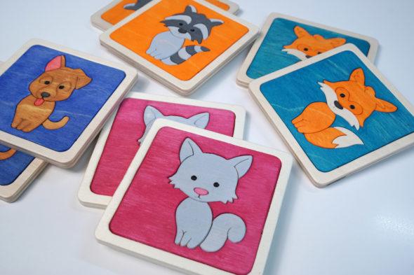 Fröhliches Tier-Memory – Set mit 16 Kartenmotiven