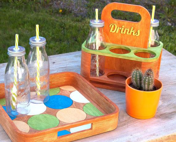 Picknickzeit − Flaschenträger und Tablett