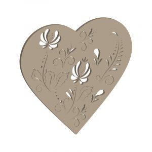 Herz mit Blumen im Stil der Bauernmalerei
