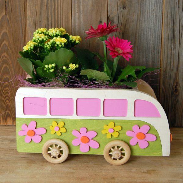 Laubsägevorlage Flower-Power-Bus