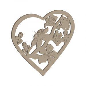 Laubsägevorlage für ein Herz mit detailreichen Blüten