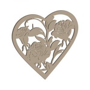 Sägevorlage Herz mit Rosenranken