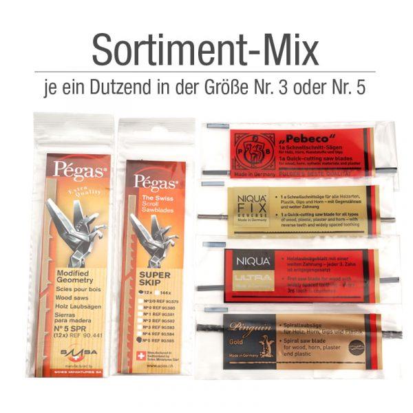 Laubsäegeblätter der Firma NIQUA und Pégas im Soritment-Mix