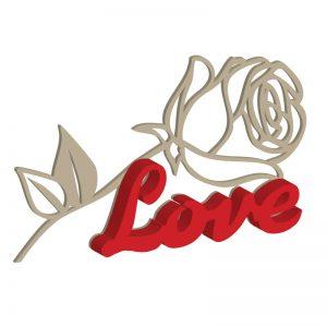 Langstielige Rose mit Schriftzug
