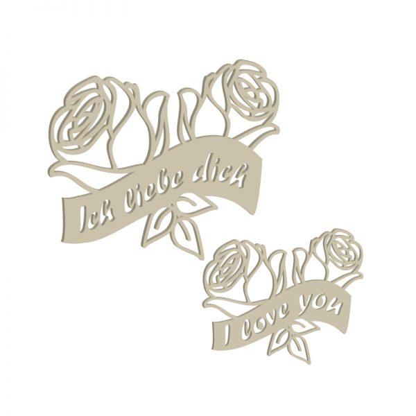 Laubsägevorlage Rosenblüten mit Ich-liebe-Dich-Schriftzug