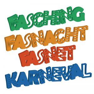 Laubsägevorlage Schriftzüge für Fasnacht, Fasching, Fasnet, Karneval