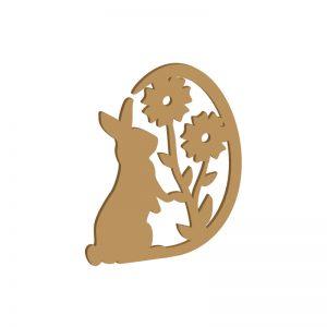 Hase mit Blütenei | Laubsägevorlage für Osterdeko aus Holz