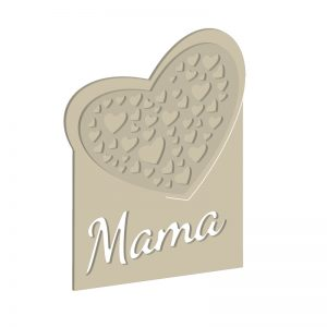 Herz-Deko mit Mama-Schriftzug | Digitale Laubsägevorlage