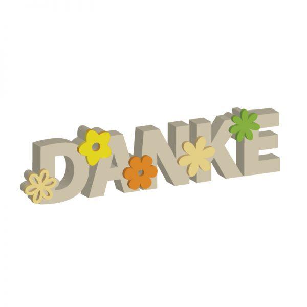 Danke-Schriftzug mit Blüten | Digitale Laubsägevorlage