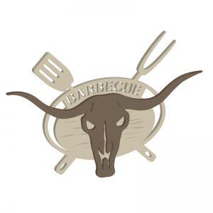 Barbecue-Deko-Schild mit Stierschädel und Schriftzug
