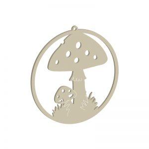 Lausägevorlage für Fensterbild mit Pilz-Motiv