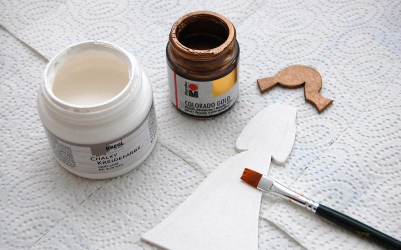 Laubsägevorlage Engel   Sperrholz mit Kreidefarbe und Metallic-Farbe bemalen