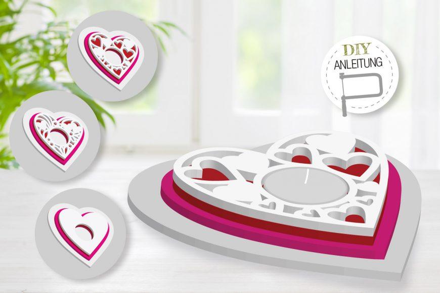 Teelichthalter HERZ | DIY-Anleitung für schöne Tischdeko